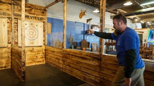 Catawba Brewing has added permanent ax-throwing lanes.