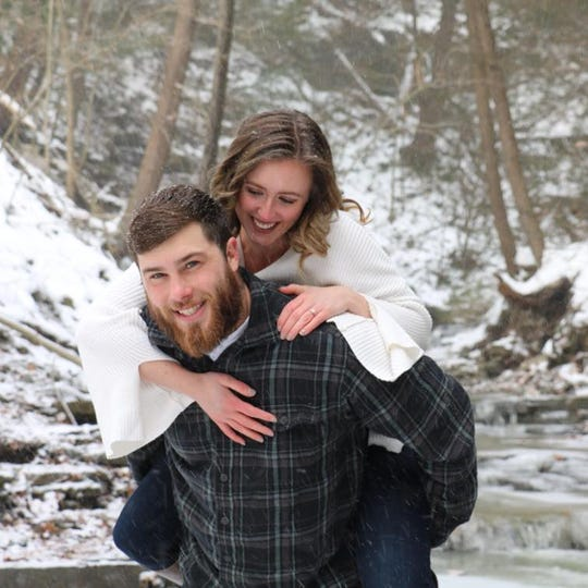 James Battaglini, of Vestal, broke his neck while swimming in Atlantic City just weeks before he was scheduled to wed Joanna Puzakulics. The couple is in currently Philadelphia, where Battaglini is receiving long-term care in a rehab facility.