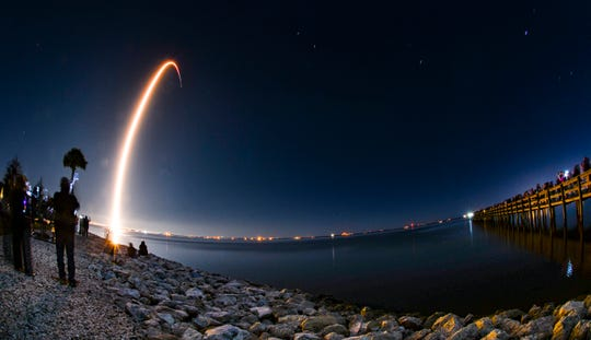 SpaceX successfully launched its Falcon 9 rocket with 60 Starlink communications satellites Jan. 6, 2020 from Cape Canaveral Air Force Station Launch Complex 40. This was also the fourth successful landing of the rocket's first-stage booster.