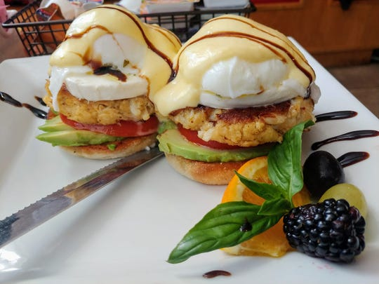 """Holly Martin (Jan. 5): """"(We had) avocado crab cake Caprese Benedict with homemade crab cakes, tomato, mozzarella, pesto and avocado on top of a grilled English muffin with poached eggs and balsamic glaze at Mulberry Lane Café (3440 N. Harbor City Blvd., Melbourne). (Owner) Kelly Scianna knocks it out of the park again!"""""""