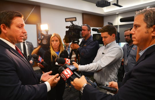 Gov. Ron DeSantis was in town Tuesday, and stopped by L3Harris headquarters to promote opportunity zones on the Space Coast. He also talked to the media afterwards and was asked about teacher pay, the Space Force and help for Puerto Rico.