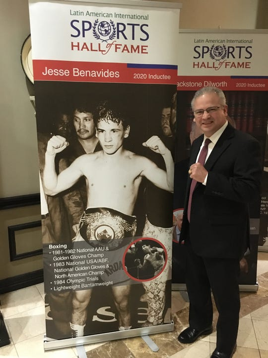 Legendary Corpus Christi boxer Jesse Benavides poses prior to his induction into the Latin American International Sports Hall of Fame in Laredo on Saturday, Jan. 4, 2020.