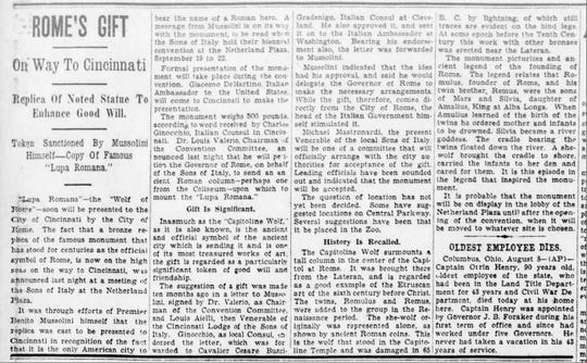 An article on a statue from Rome given to Cincinnati, from The Cincinnati Enquirer, Aug. 9, 1931.