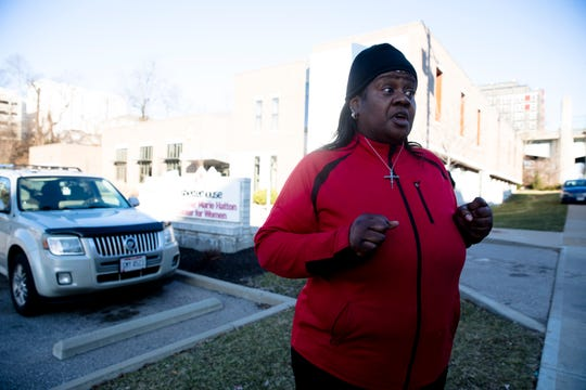 Kimberly Brundidge speaks about an assault that took place at the Esther Marie Hatton Center for Women where police responded to a stabbing on Tuesday, Jan. 7, 2019 in Cincinnati.