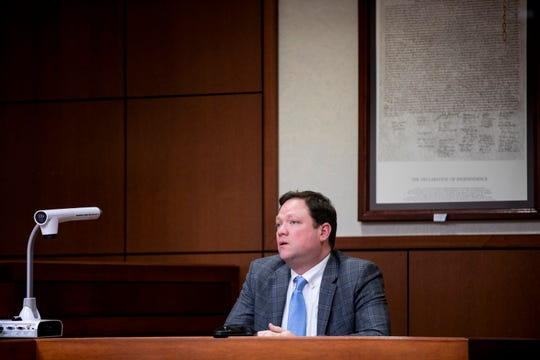 Alex Edmondson, an attorney, testifies at Kenton County Family Court Judge Dawn Gentry's hearing at the Jefferson County Judicial Center in Louisville on Friday, January 3, 2020.