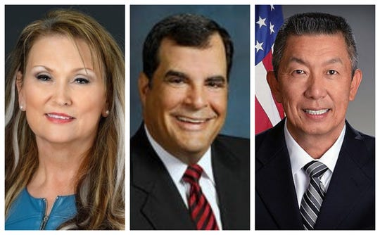Ohio Senate District 4 candidates (from left): Candice Keller, George Lang, Lee Wong