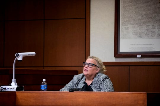 Deanna Dennison, a Northern Kentucky attorney, testifies at Kenton County Family Court Judge Dawn Gentry's hearing at the Jefferson County Judicial Center in Louisville on Friday, January 3, 2020.
