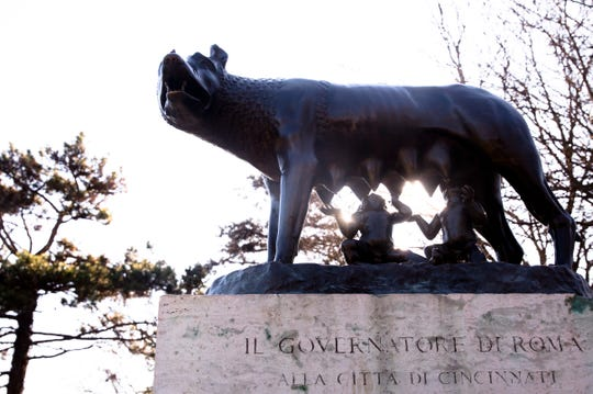 A view of the The Capitoline Wolf statue in Eden Park on Tuesday, Jan. 7, 2020. The statue was a gift from the government of Rome in 1931.