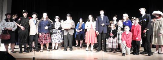 "The cast of ""It's a Wonderful Life"" at Ridgewood High School."