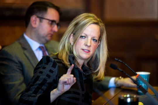 Iowa Senate Minority Leader Sen. Janet Petersen, D-Des Moines, speaks to a gathering of journalists during the AP Legislative Forum on Tuesday, January 7, 2020, at the Iowa State Capitol in Des Moines.