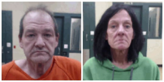 James W. Huber, left, and Kim K. Butterbaugh shown in their mugshots. The two are accused of giving a minor drugs and alcohol while they worked as Iowa janitors.