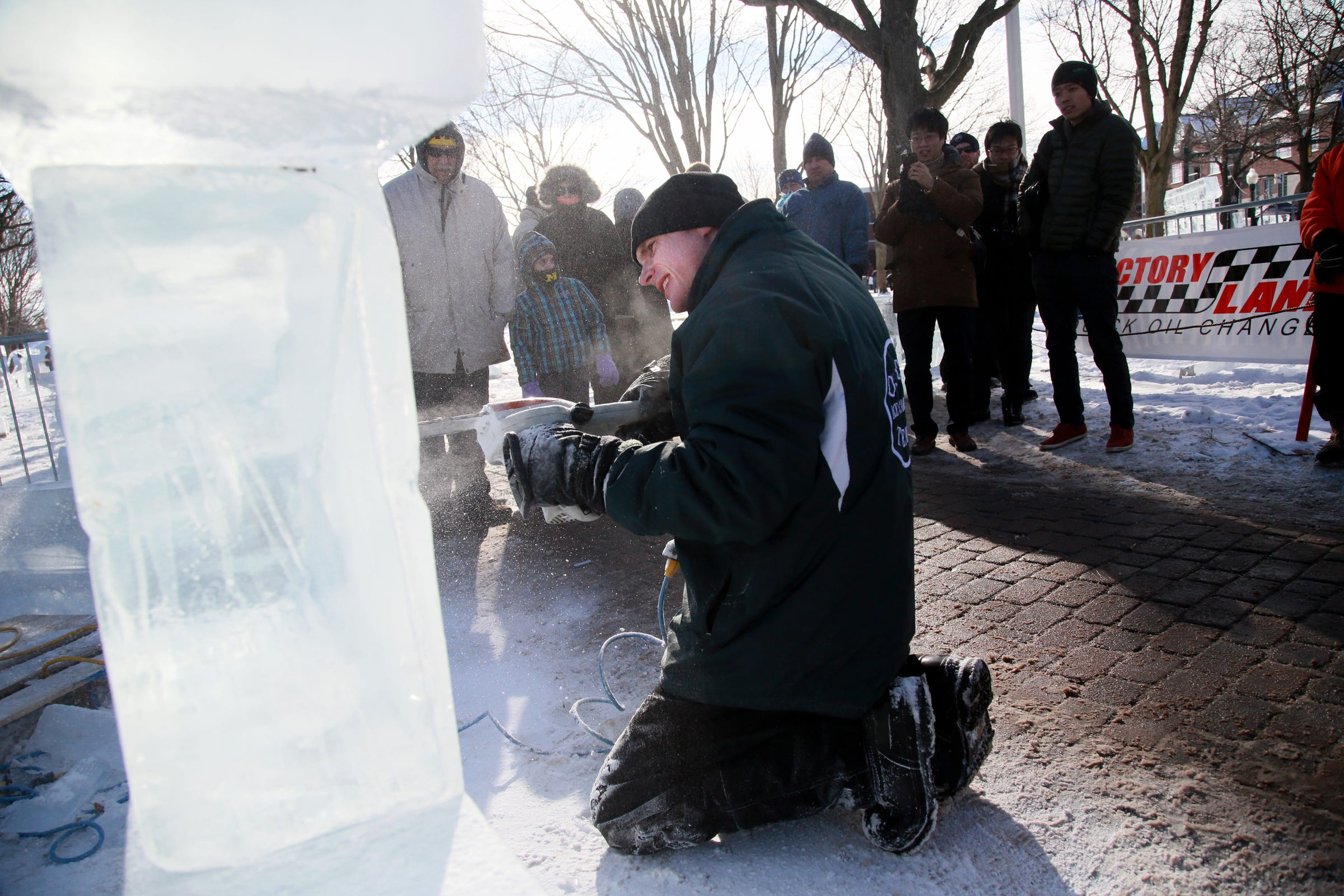 Ice carvers will be demonstrating their technique during this weekend's Plymouth Ice Festival.
