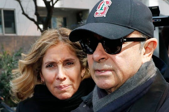 Former Nissan Chairman Carlos Ghosn and his wife, Carole, in Tokyo.