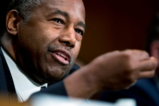 """FILE - In this Sept. 10, 2019 file photo, Housing and Urban Development Secretary Ben Carson speaks at a Senate Banking Committee hearing on """"Housing Finance Reform: Next Steps"""" on Capitol Hill in Washington."""