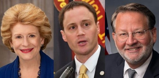 Sen. Debbie Stabenow, former House Speaker Tom Leonard and Sen. Gary Peters are pictured from left to right.