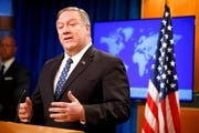 Secretary of State Mike Pompeo speaks about Iran, Tuesday Jan. 7, 2020, at the State Department in Washington.