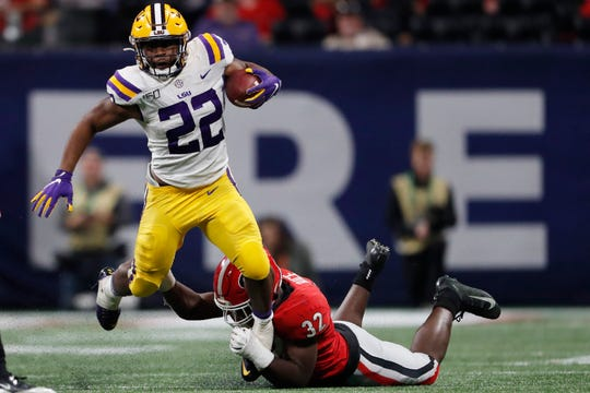 LSU running back Clyde Edwards-Helaire (22)
