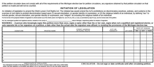 Petitions from the new group Fair and Equal Michigan. The group hopes to expand the state's ban on discrimination to include sexual orientation and gender identity.