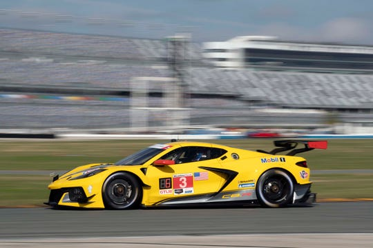 The #3 Corvette C8.R driven by Antonio Garcia, Jordan Taylor and Nicky Catsburg at Daytona's Roar Before the 24. The C8.R uses a 5.5-liter flat-plane crank engine different than the 6.2-liter push-rod engine that will be in the first production C8.