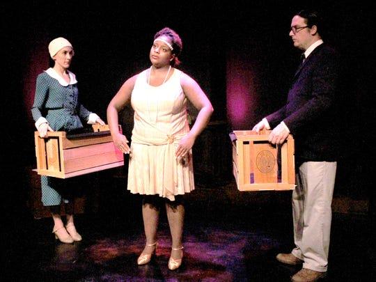 "Jayne McLendon, Indigo Colbert and Aaron Kottke in ""The Puppeteer"" at the Detroit Rep Jan. 9 - Mar. 15."