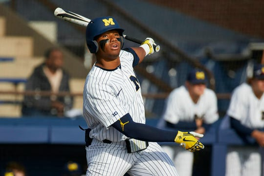 Jordan Nwogu was second on Michigan's baseball team last season with a .321 average.