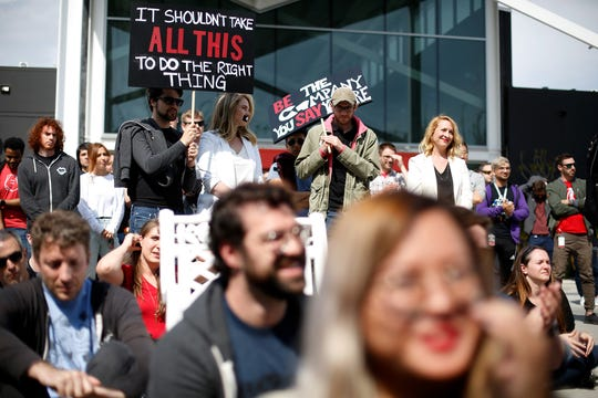 Workers at Riot Games stage a walkout in Los Angeles on May 6, 2019.
