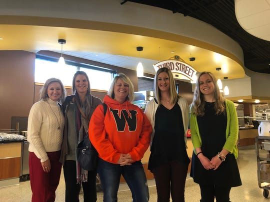 Members of the Wello Farm to School Task Force attend a zero waste tour at St. Norbert College in December. From left, Lynette Zalec, food service director for the Green Bay school district; Caitlin Harrison, food service director for the Pulaski school district; Casey Atkinson, food service nutrition coordinator for the West De Pere school district; Kaitlin Tauriainen, child nutrition coordinator for the Ashwaubenon School District; and Jamie Hurley, food service director for Green Bay Area Catholic Education.
