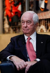 Roger Penske sits down with media at Bankers Life Fieldhouse, Indianapolis, Tuesday, Jan. 7, 2020. A reception with Governor Eric Holcomb and Mayor Joe Hogsett was held after the finalization of Penske purchasing Indianapolis Motor Speedway.