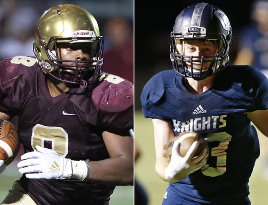 Lutheran's Marcus McFadden (left) and Lafayette Central Catholic's Daniel Roach.