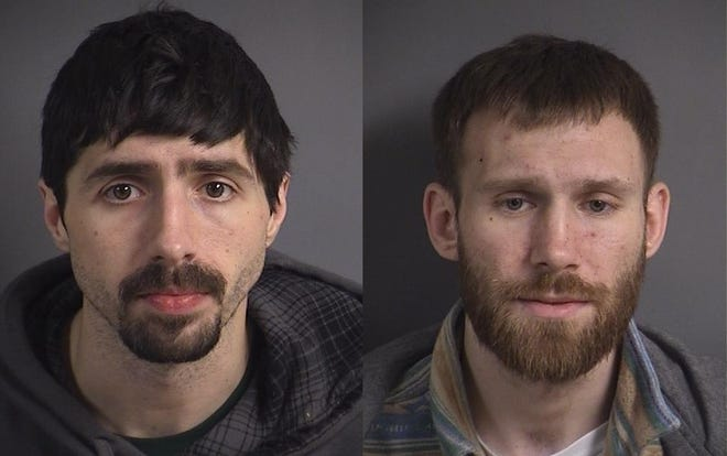Dustin J. Haigh and Timothy P. Heath (left to right) face burglary, trespass and other charges after an alleged incident on Jan. 6, 2020, in Iowa City.