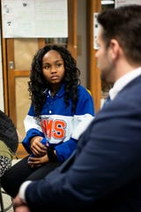 Mayor Conger visits academy students at Northeast Middle School in Jackson, Tenn., Tuesday, Jan. 7, 2020 in their environmental science class to discuss their recycling proposal and how to help impact their community. Pictured is eighth grader Kamille Brooks.