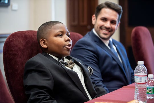 Taeshon Curry talks during a press conference about what his experience was like  as a Mayor for a day with Mayor Conger at Jackson City Hall in Jackson, Tenn., Tuesday, Jan. 7, 2020.