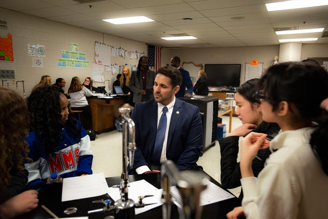 Mayor Conger visits academy students at Northeast Middle School in Jackson, Tenn., Tuesday, Jan. 7, 2020 in their environmental science class to discuss their recycling proposal and how to help impact their community.