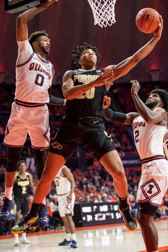 Jan 5, 2020; Champaign, Illinois, USA; Purdue Boilermakers guard Nojel Eastern (20) goes up for a shot during the second half against the Illinois Fighting Illiniat State Farm Center. Mandatory Credit: Patrick Gorski-USA TODAY Sports