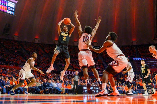 Jan 5, 2020; Champaign, Illinois, USA; Purdue Boilermakers guard Eric Hunter Jr. (2) goes up for a shot during the second half against the Illinois Fighting Illini at State Farm Center. Mandatory Credit: Patrick Gorski-USA TODAY Sports