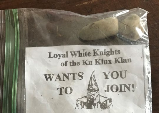 Recruiting fliers for the Ku Klux Klan, tucked into plastic sandwich bags and weighted down with rocks, were found in Jan. 3, 2019, at homes and businesses in and near downtown Lafayette. The reports were the third in the past two years.