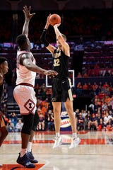 Jan 5, 2020; Champaign, Illinois, USA; Purdue Boilermakers center Matt Haarms (32) shoots during the second half against the Illinois Fighting Illini at State Farm Center. Mandatory Credit: Patrick Gorski-USA TODAY Sports