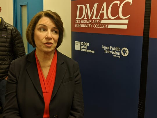 Sen. Amy Klobuchar speaks at a press conference before her televised discussion with David Yepsen at Des Moines Area Community College in Des Moines, Iowa on Jan. 2, 2020.