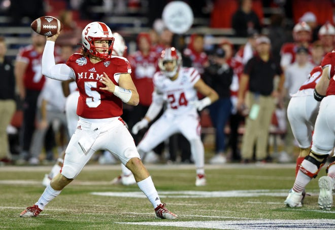 Brett Gabbert, shown during Miami's bowl game against Louisiana-Lafayette in January, threw for a career-high 308 yards in the RedHawks'  38-7 victory over Akron Saturday, the program's 700th win.