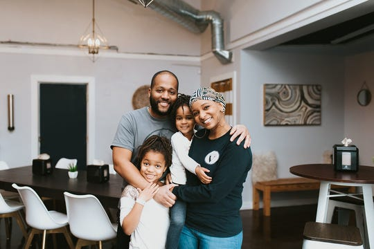 Clifton and Tiffany Hancock, pictured with their kids, run the vegan restaurant Southern V in Nashville. (Courtesy of Southern V)