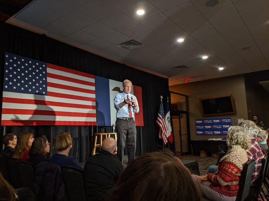 Tom Steyer speaks to attendees during a rally at The Gathering Room in Council Bluffs, Iowa on Jan. 1, 2020.