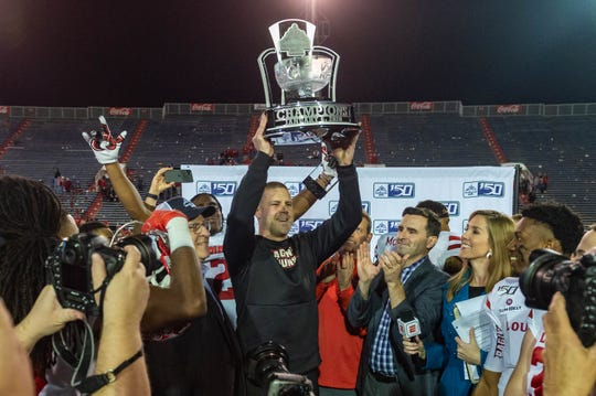UL coach Billy Napier celebrates a win over Miami (Ohio) in last January's' LendingTree Bowl, which will part of the Sun Belt's lineup.