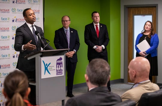 Kentucky Attorney General Daniel Cameron speaks about wanting to strengthen efforts to prevent child abuse and protect children during a visit at the Kentucky Youth Advocates office Tuesday morning.