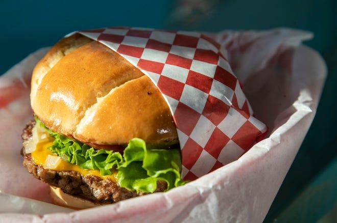 Shahar Cafe's Impossible burger ($11/single patty, $14/double patty).  Dec. 27, 2019