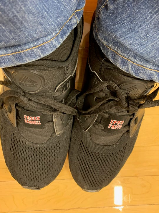 Crestview's wrestlers and coaches wore these shoe tags last weekend in the J..C. Gorman Invitational in memory of assistant coach Jesse Campbell, who died in a head-on crash on Dec. 30.