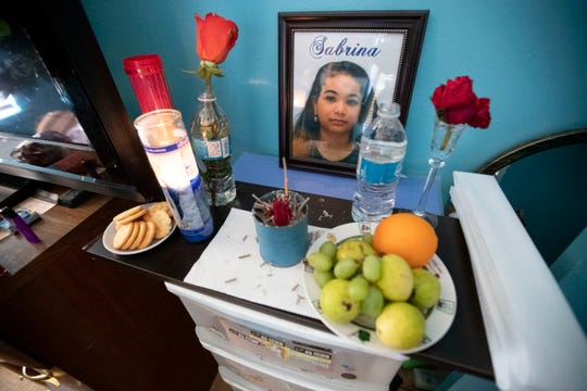 A memorial sits on a dresser in Sabrina Nguyen's room Tuesday, Jan. 7, 2020, at her family's home in Memphis. Sabrina was killed on Jan. 2. She was 18.