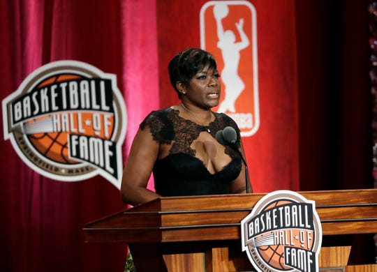 Basketball Hall of Fame inductee Sheryl Swoopes speaks during induction ceremonies at Symphony Hall, Friday, Sept. 9, 2016, in Springfield, Mass. (AP Photo/Elise Amendola)