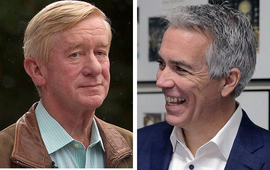Former Massachusetts Gov. William Weld, left, and former Illinois Congressman Joe Walsh, right, are mounting long-shot Republican primary campaigns against President Donald Trump.