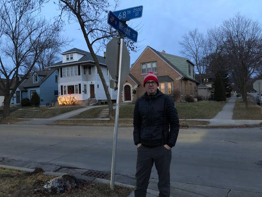 Aaron Routhe stands near the spot where his son Noel was hit by a car on Friday, Jan 3. Routhe is now asking Wauwatosa officials to make this intersection more safe.