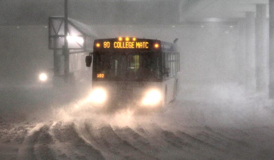 Milwaukee County Transit buses continued to run late in the evening at Milwaukee Mitchell International Airport during the Groundhog Day blizzard in February 2011.